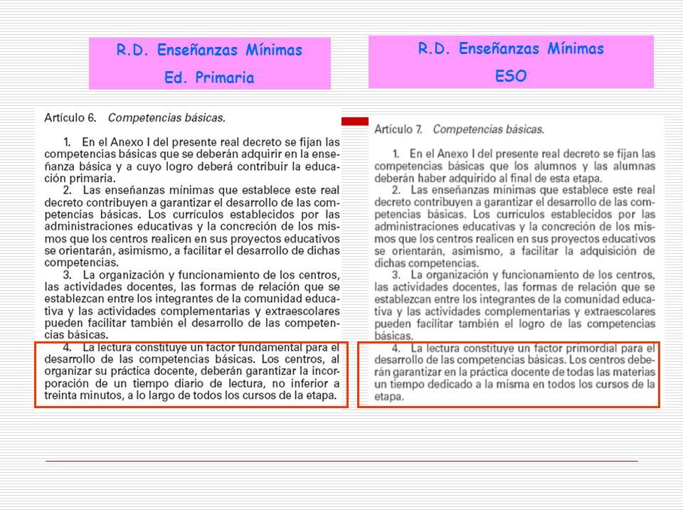 R.D. Enseñanzas Mínimas ESO R.D. Enseñanzas Mínimas Ed. Primaria