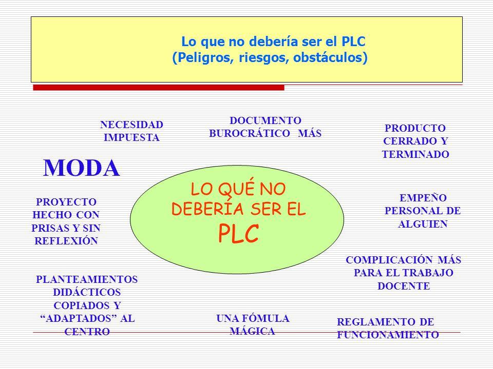 Lo que no debería ser el PLC (Peligros, riesgos, obstáculos) LO QUÉ NO DEBERÍA SER EL PLC NECESIDAD IMPUESTA REGLAMENTO DE FUNCIONAMIENTO COMPLICACIÓN