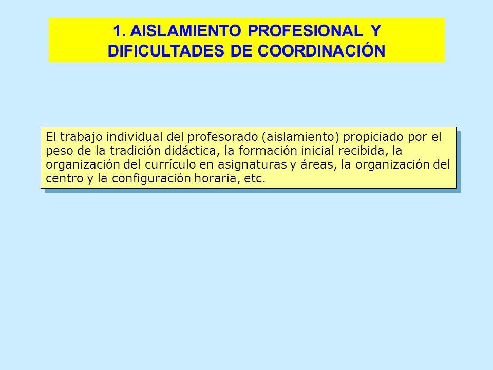 El trabajo individual del profesorado (aislamiento) propiciado por el peso de la tradición didáctica, la formación inicial recibida, la organización d