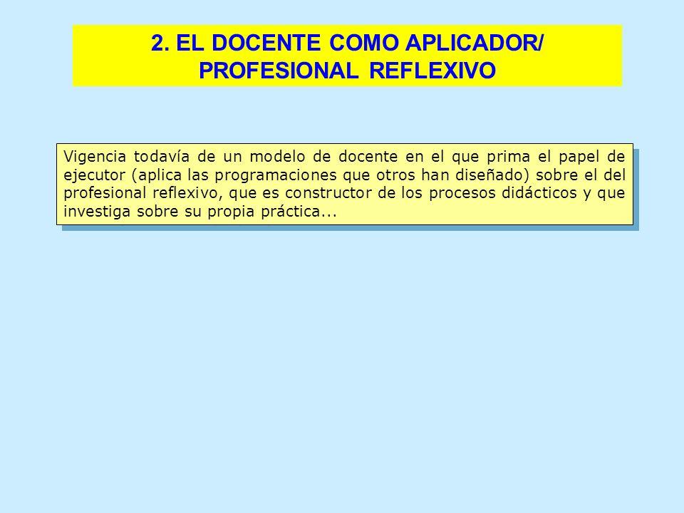 2. EL DOCENTE COMO APLICADOR/ PROFESIONAL REFLEXIVO Vigencia todavía de un modelo de docente en el que prima el papel de ejecutor (aplica las programa