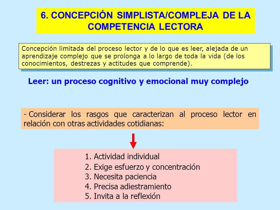 6. CONCEPCIÓN SIMPLISTA/COMPLEJA DE LA COMPETENCIA LECTORA Concepción limitada del proceso lector y de lo que es leer, alejada de un aprendizaje compl