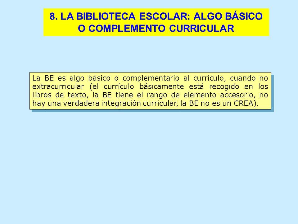 8. LA BIBLIOTECA ESCOLAR: ALGO BÁSICO O COMPLEMENTO CURRICULAR La BE es algo básico o complementario al currículo, cuando no extracurricular (el currí