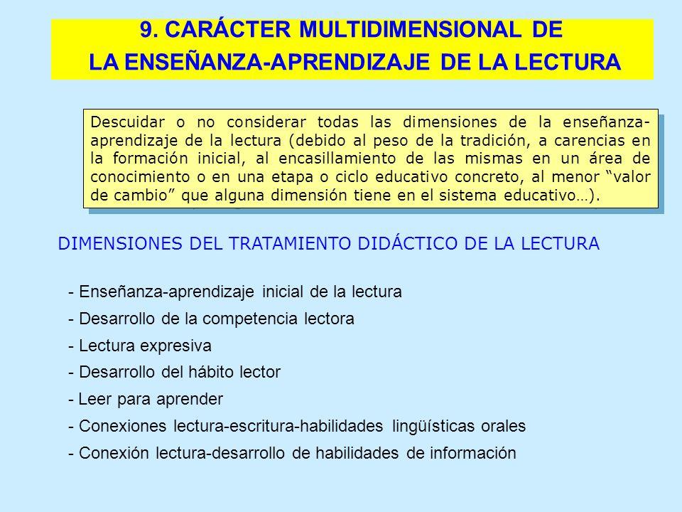 9. CARÁCTER MULTIDIMENSIONAL DE LA ENSEÑANZA-APRENDIZAJE DE LA LECTURA Descuidar o no considerar todas las dimensiones de la enseñanza- aprendizaje de