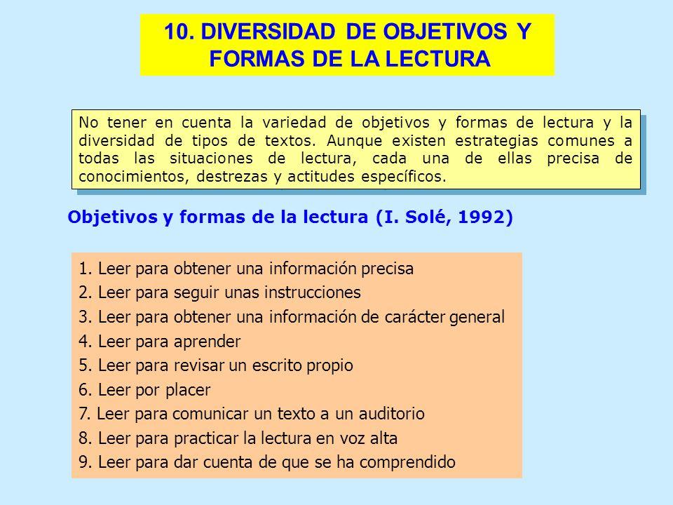10. DIVERSIDAD DE OBJETIVOS Y FORMAS DE LA LECTURA No tener en cuenta la variedad de objetivos y formas de lectura y la diversidad de tipos de textos.