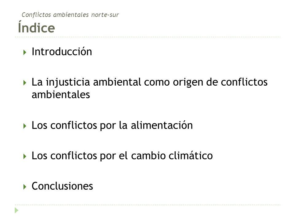 Conflictos ambientales norte-sur Índice Introducción La injusticia ambiental como origen de conflictos ambientales Los conflictos por la alimentación Los conflictos por el cambio climático Conclusiones