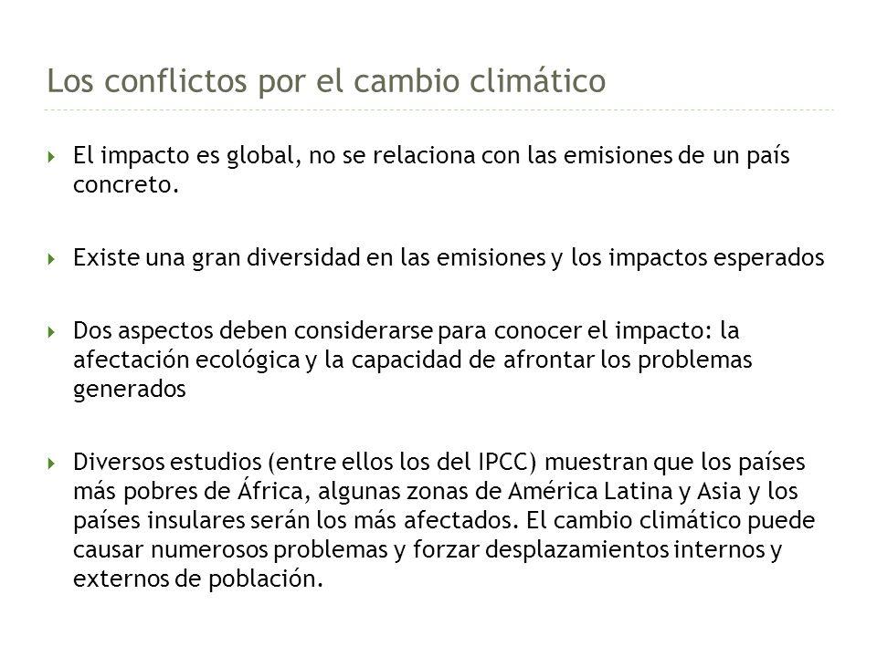 Los conflictos por el cambio climático El impacto es global, no se relaciona con las emisiones de un país concreto.