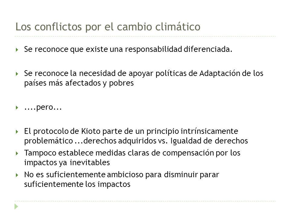 Los conflictos por el cambio climático Se reconoce que existe una responsabilidad diferenciada.