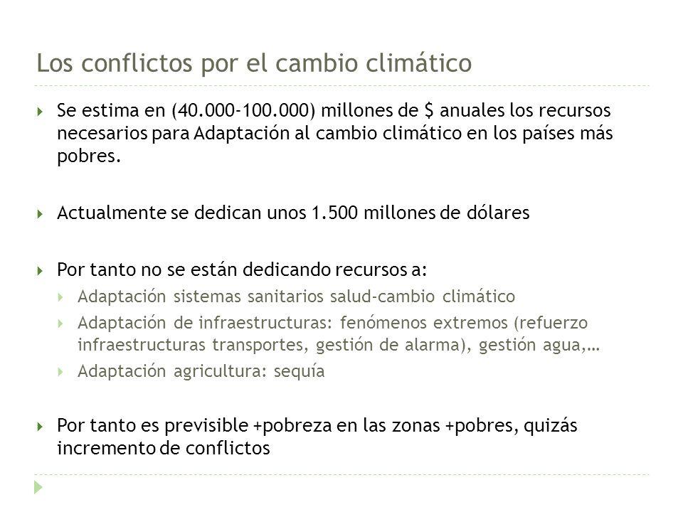 Los conflictos por el cambio climático Se estima en (40.000-100.000) millones de $ anuales los recursos necesarios para Adaptación al cambio climático en los países más pobres.