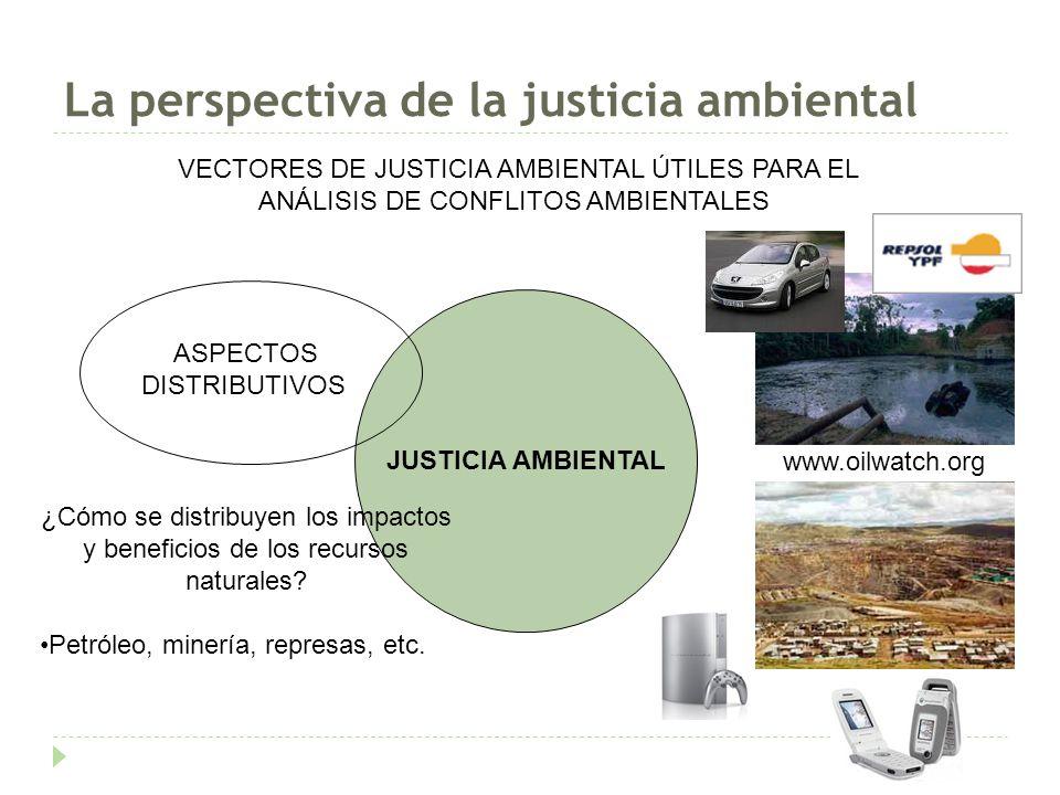 La perspectiva de la justicia ambiental JUSTICIA AMBIENTAL ASPECTOS DISTRIBUTIVOS VECTORES DE JUSTICIA AMBIENTAL ÚTILES PARA EL ANÁLISIS DE CONFLITOS AMBIENTALES ¿Cómo se distribuyen los impactos y beneficios de los recursos naturales.