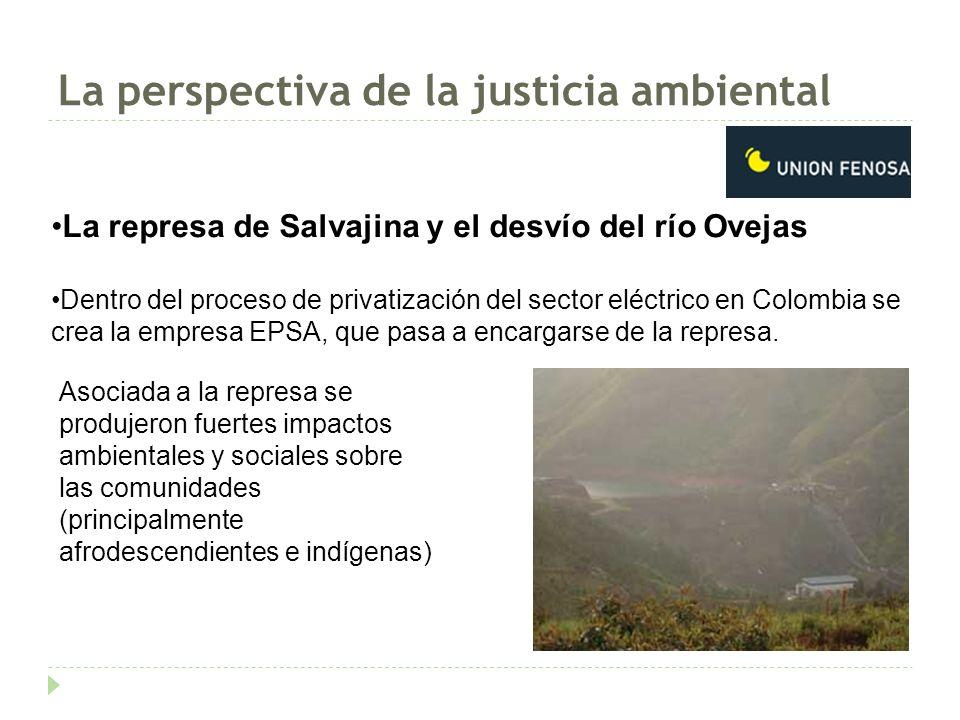 La perspectiva de la justicia ambiental La represa de Salvajina y el desvío del río Ovejas Dentro del proceso de privatización del sector eléctrico en Colombia se crea la empresa EPSA, que pasa a encargarse de la represa.