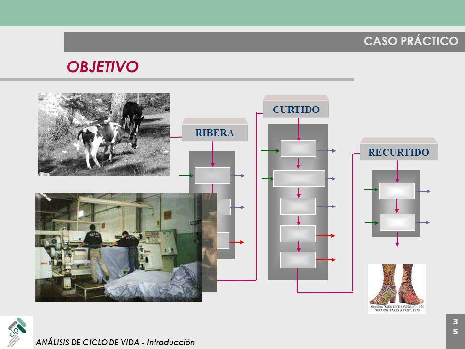 3535 ANÁLISIS DE CICLO DE VIDA - Introducción CASO PRÁCTICO OBJETIVO soaking delimin g retanni ng RIBERA CURTIDO RECURTIDO