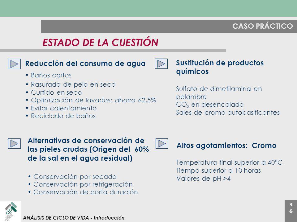 3636 ANÁLISIS DE CICLO DE VIDA - Introducción CASO PRÁCTICO ESTADO DE LA CUESTIÓN Sustitución de productos químicos Sulfato de dimetilamina en pelambr