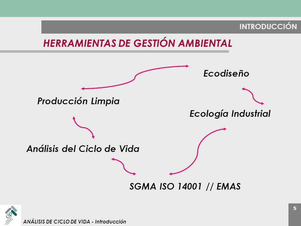 5 ANÁLISIS DE CICLO DE VIDA - Introducción HERRAMIENTAS DE GESTIÓN AMBIENTAL SGMA ISO 14001 // EMAS Producción Limpia Ecodiseño Ecología Industrial An