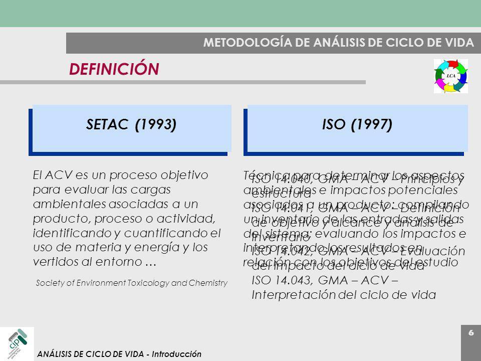 6 ANÁLISIS DE CICLO DE VIDA - Introducción METODOLOGÍA DE ANÁLISIS DE CICLO DE VIDA DEFINICIÓN El ACV es un proceso objetivo para evaluar las cargas a