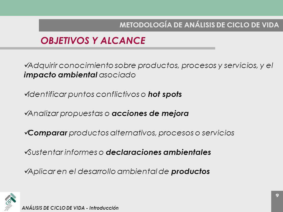 9 ANÁLISIS DE CICLO DE VIDA - Introducción METODOLOGÍA DE ANÁLISIS DE CICLO DE VIDA OBJETIVOS Y ALCANCE Adquirir conocimiento sobre productos, proceso