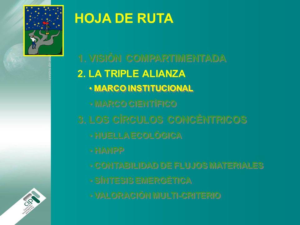 HOJA DE RUTA 1. VISIÓN COMPARTIMENTADA 2. LA TRIPLE ALIANZA MARCO INSTITUCIONAL MARCO CIENTÍFICO MARCO INSTITUCIONAL MARCO CIENTÍFICO 3. LOS CÍRCULOS