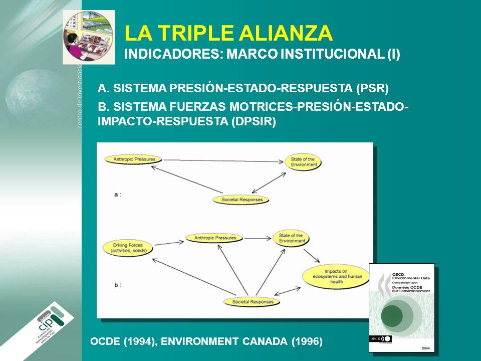 LA TRIPLE ALIANZA INDICADORES: MARCO INSTITUCIONAL (I) A. SISTEMA PRESIÓN-ESTADO-RESPUESTA (PSR) B. SISTEMA FUERZAS MOTRICES-PRESIÓN-ESTADO- IMPACTO-R