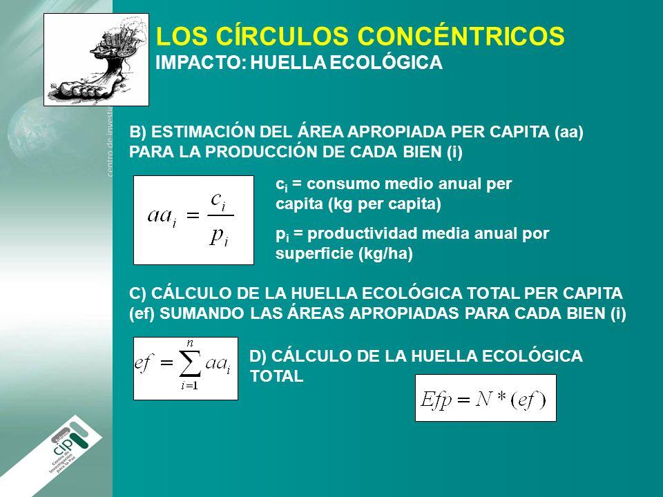 LOS CÍRCULOS CONCÉNTRICOS IMPACTO: HUELLA ECOLÓGICA B) ESTIMACIÓN DEL ÁREA APROPIADA PER CAPITA (aa) PARA LA PRODUCCIÓN DE CADA BIEN (i) c i = consumo