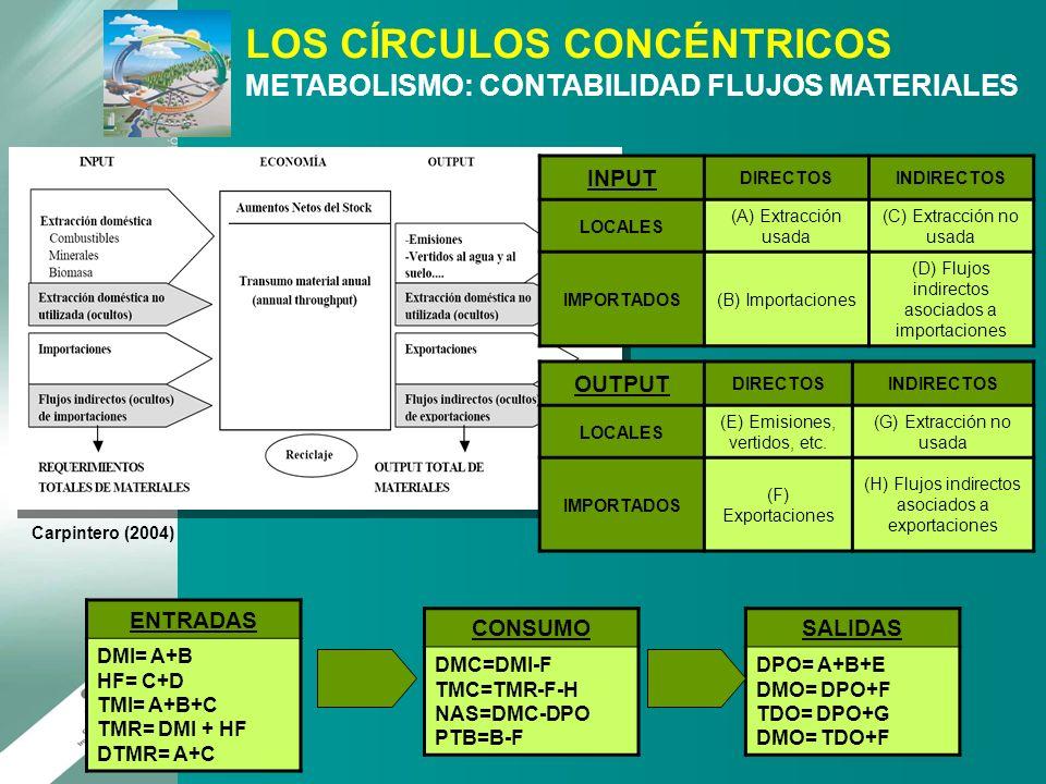 Carpintero (2004) INPUT DIRECTOSINDIRECTOS LOCALES (A) Extracción usada (C) Extracción no usada IMPORTADOS(B) Importaciones (D) Flujos indirectos asoc