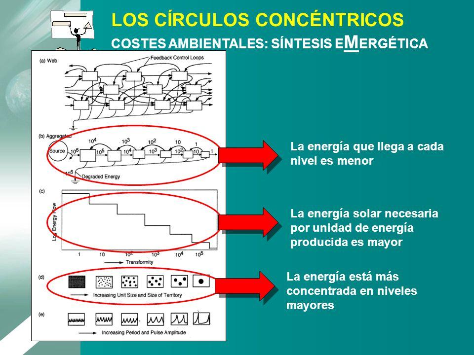 La energía que llega a cada nivel es menor La energía solar necesaria por unidad de energía producida es mayor La energía está más concentrada en nive