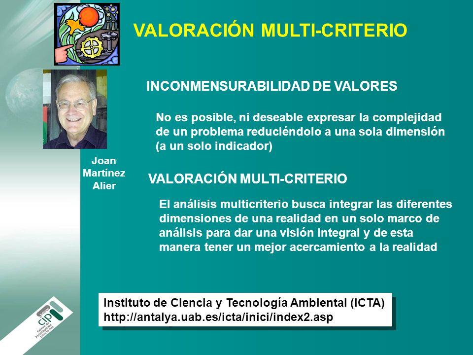 Joan Martínez Alier INCONMENSURABILIDAD DE VALORES No es posible, ni deseable expresar la complejidad de un problema reduciéndolo a una sola dimensión