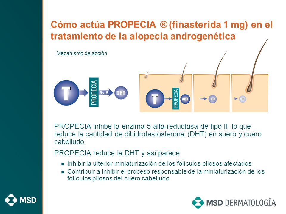 Información importante sobre PROPECIA ® (finasterida 1 mg) Indicación: Tratamiento de las primeras fases de la alopecia androgenética de varones. PROP