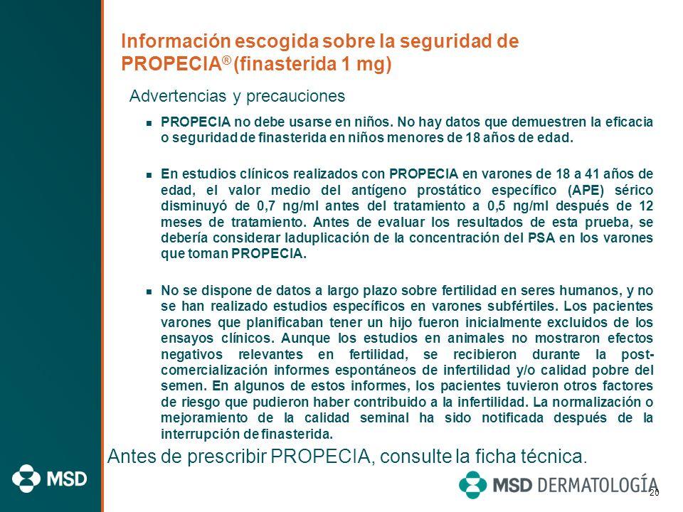 19 Información escogida sobre la seguridad de PROPECIA ® (finasterida 1 mg) Contraindicaciones PROPECIA está contraindicado en mujeres por el riesgo q