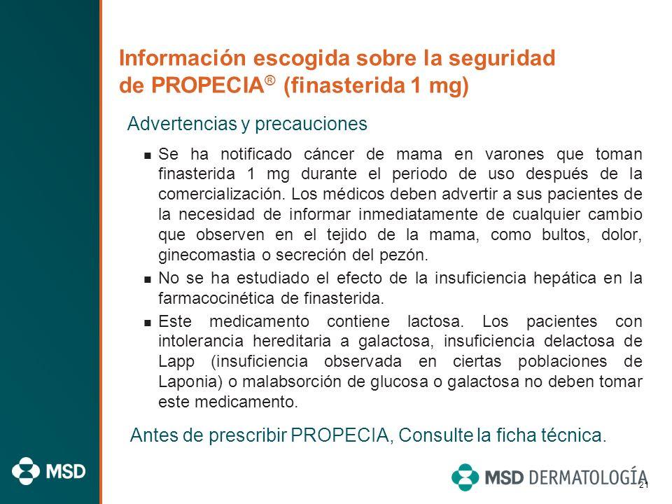 20 Información escogida sobre la seguridad de PROPECIA ® (finasterida 1 mg) Advertencias y precauciones PROPECIA no debe usarse en niños. No hay datos
