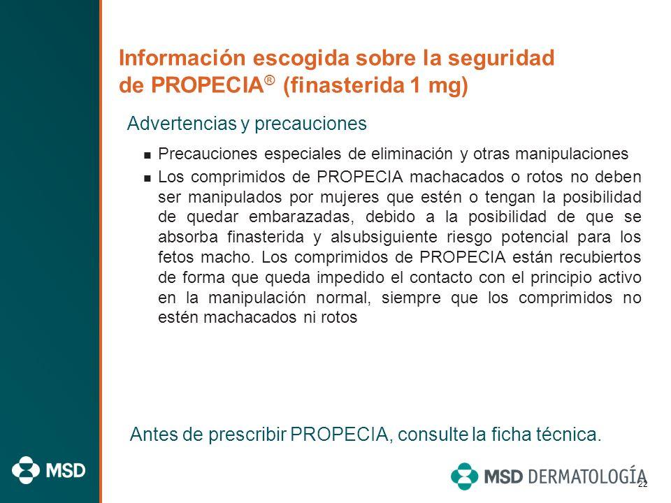Información escogida sobre la seguridad de PROPECIA ® (finasterida 1 mg) Advertencias y precauciones Se ha notificado cáncer de mama en varones que to