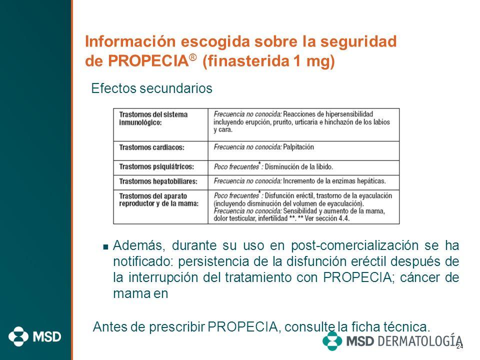 Información escogida sobre la seguridad de PROPECIA ® (finasterida 1 mg) Efectos secundarios Las reacciones adversas registradas durante los ensayos c