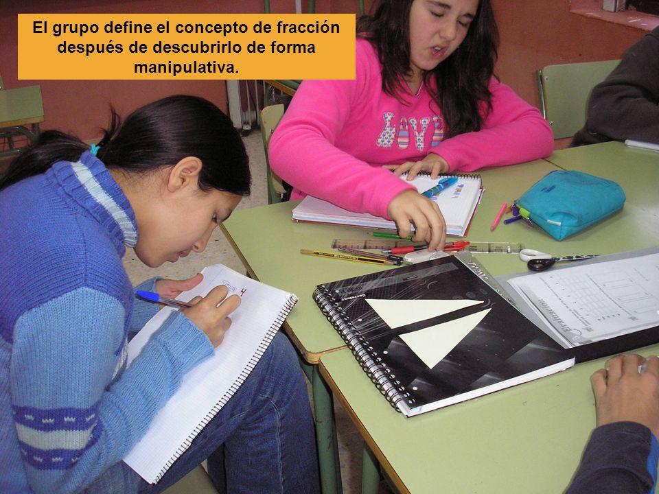 El grupo define el concepto de fracción después de descubrirlo de forma manipulativa.