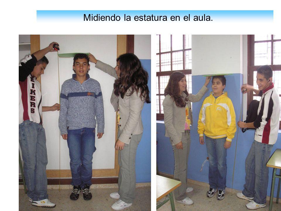 Midiendo la estatura en el aula.