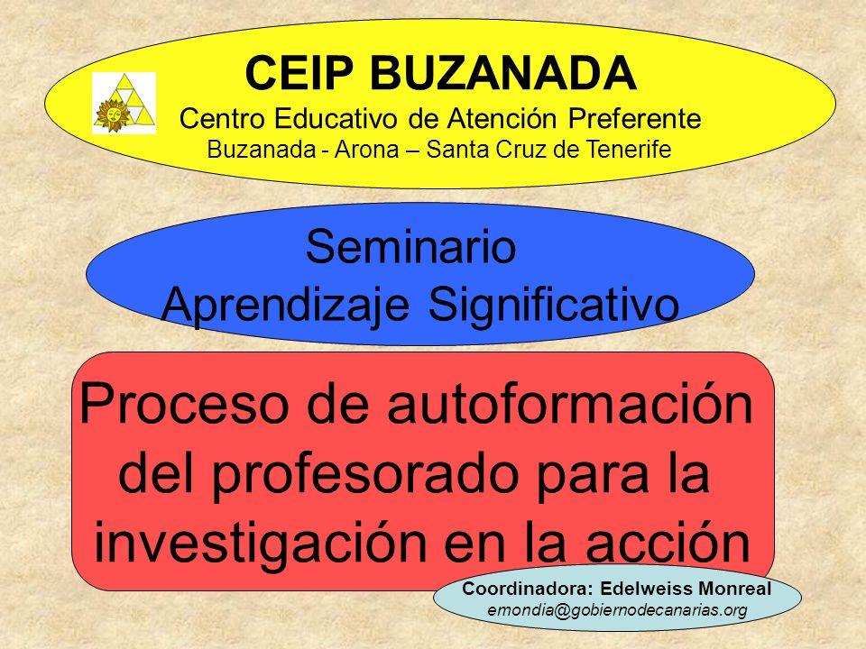 CEIP BUZANADA Centro Educativo de Atención Preferente Buzanada - Arona – Santa Cruz de Tenerife Seminario Aprendizaje Significativo Proceso de autofor