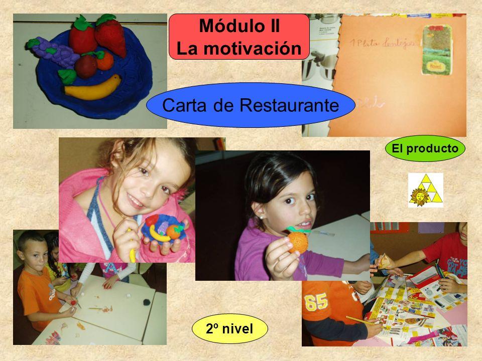 El producto Carta de Restaurante Módulo II La motivación 2º nivel