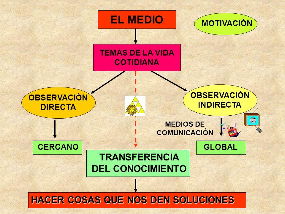 EL MEDIO TEMAS DE LA VIDA COTIDIANA MOTIVACIÓN OBSERVACIÓN DIRECTA OBSERVACIÓN INDIRECTA MEDIOS DE COMUNICACIÓN CERCANOGLOBAL TRANSFERENCIA DEL CONOCI