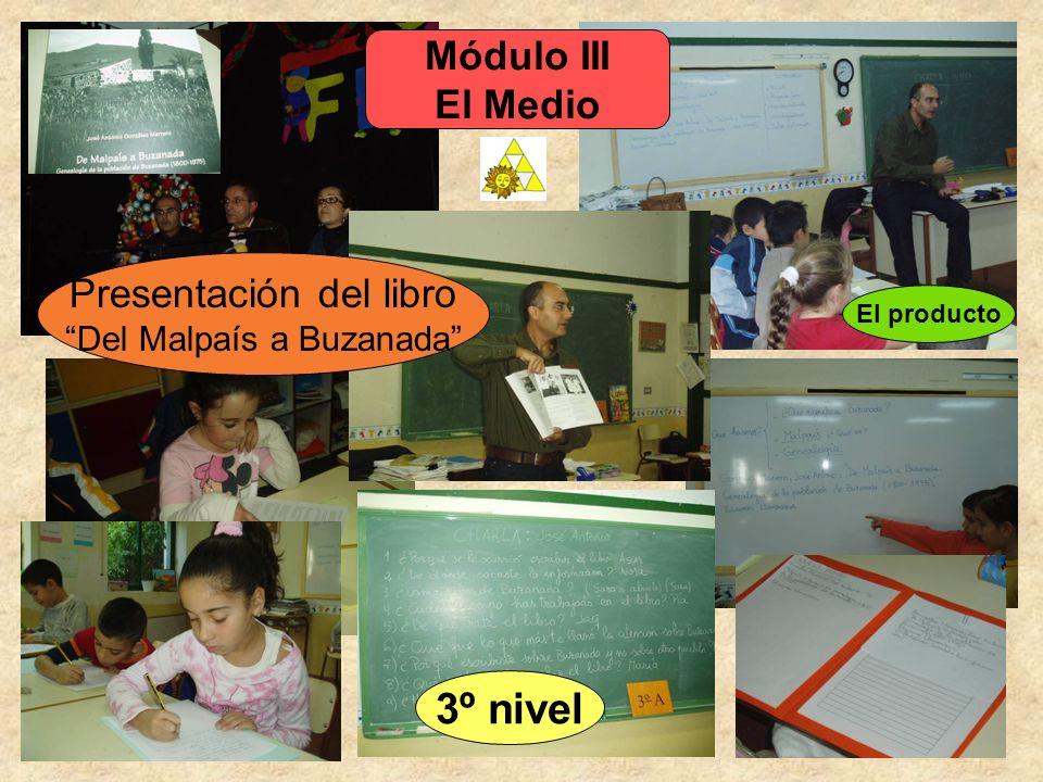 Módulo III El Medio El producto Presentación del libro Del Malpaís a Buzanada 3º nivel