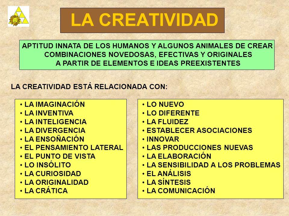 LA CREATIVIDAD APTITUD INNATA DE LOS HUMANOS Y ALGUNOS ANIMALES DE CREAR COMBINACIONES NOVEDOSAS, EFECTIVAS Y ORIGINALES A PARTIR DE ELEMENTOS E IDEAS