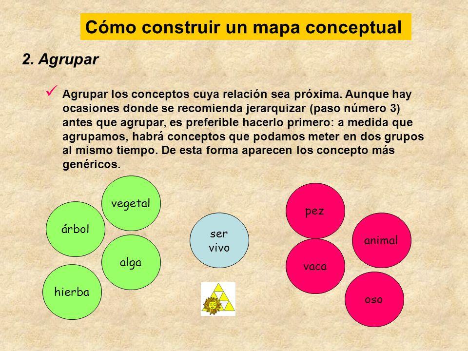 2. Agrupar Agrupar los conceptos cuya relación sea próxima. Aunque hay ocasiones donde se recomienda jerarquizar (paso número 3) antes que agrupar, es