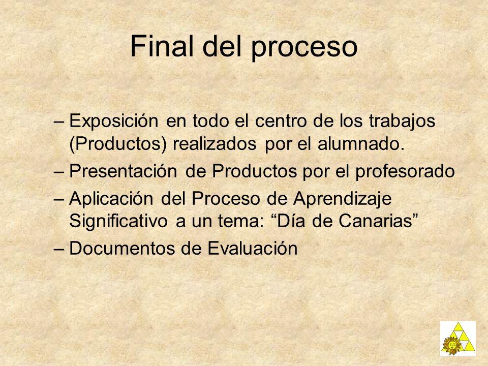 Final del proceso –Exposición en todo el centro de los trabajos (Productos) realizados por el alumnado. –Presentación de Productos por el profesorado