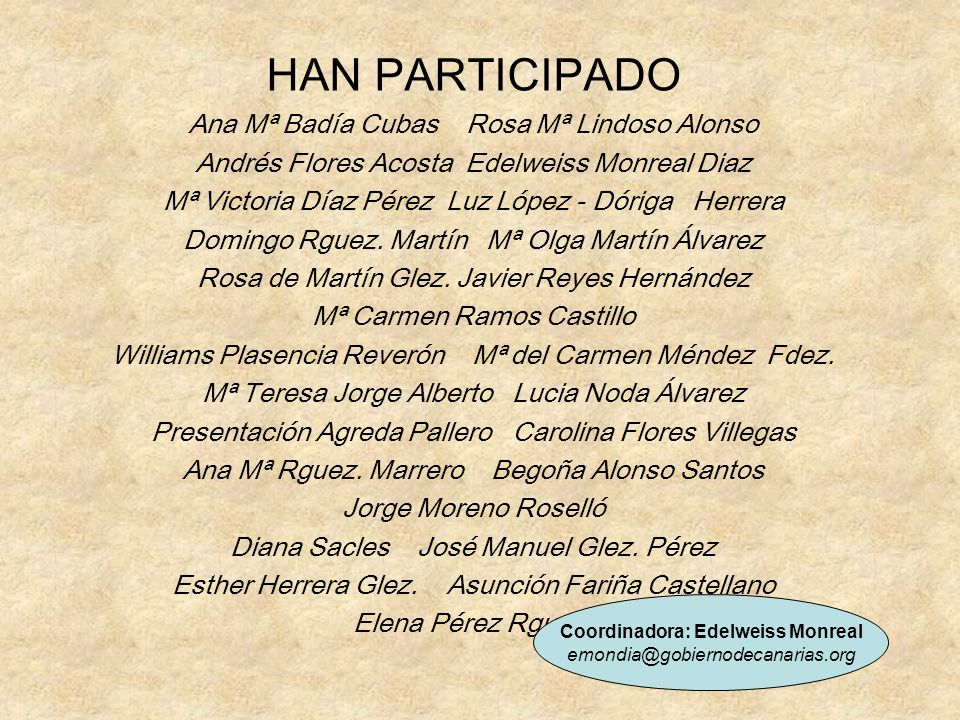 HAN PARTICIPADO Ana Mª Badía Cubas Rosa Mª Lindoso Alonso Andrés Flores Acosta Edelweiss Monreal Diaz Mª Victoria Díaz Pérez Luz López - Dóriga Herrer