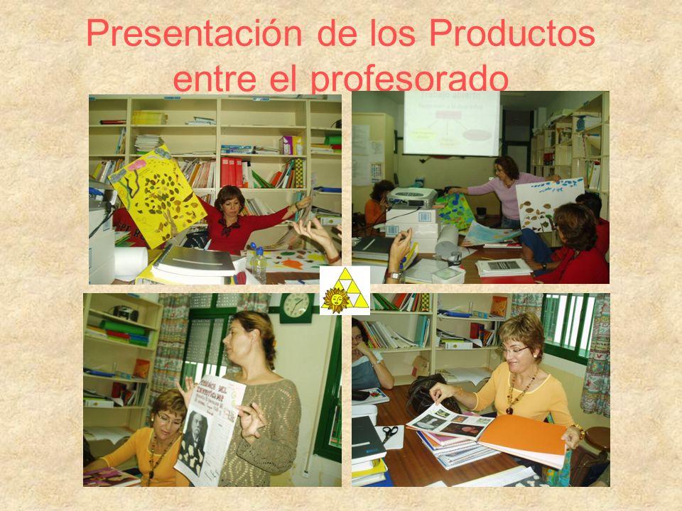 Final del proceso –Exposición en todo el centro de los trabajos (Productos) realizados por el alumnado.