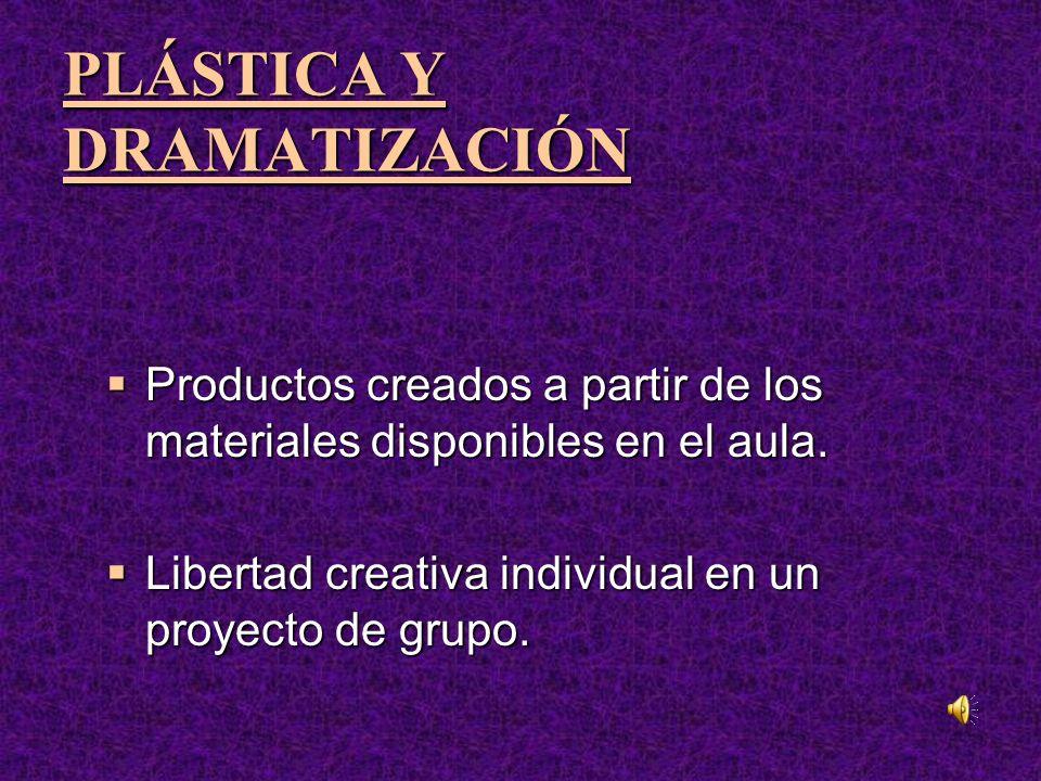 PLÁSTICA Y DRAMATIZACIÓN PLÁSTICA Y DRAMATIZACIÓN Productos creados a partir de los materiales disponibles en el aula.