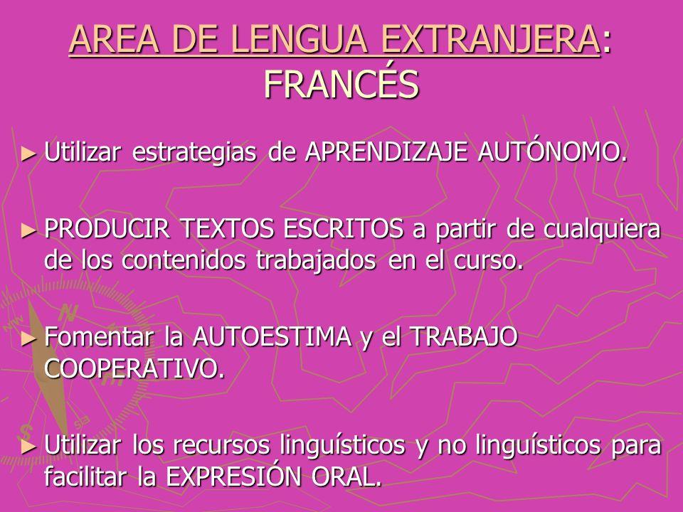 AREA DE LENGUA EXTRANJERAAREA DE LENGUA EXTRANJERA: FRANCÉS AREA DE LENGUA EXTRANJERA Utilizar estrategias de APRENDIZAJE AUTÓNOMO.