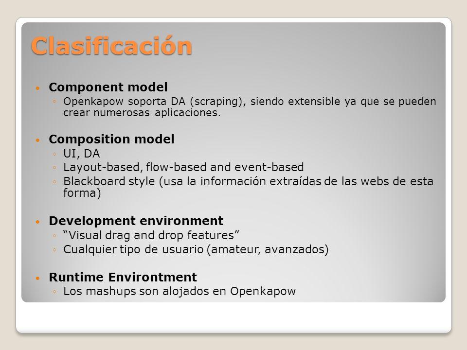 Clasificación Component model Openkapow soporta DA (scraping), siendo extensible ya que se pueden crear numerosas aplicaciones. Composition model UI,