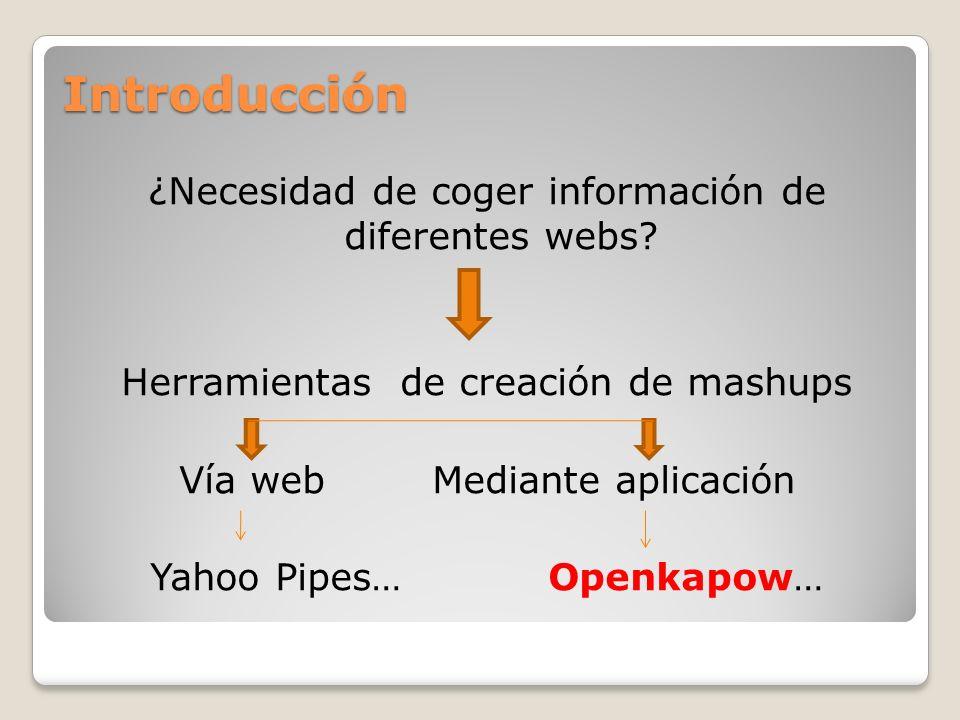 Introducción ¿Necesidad de coger información de diferentes webs? Herramientas de creación de mashups Vía web Mediante aplicación Yahoo Pipes… Openkapo
