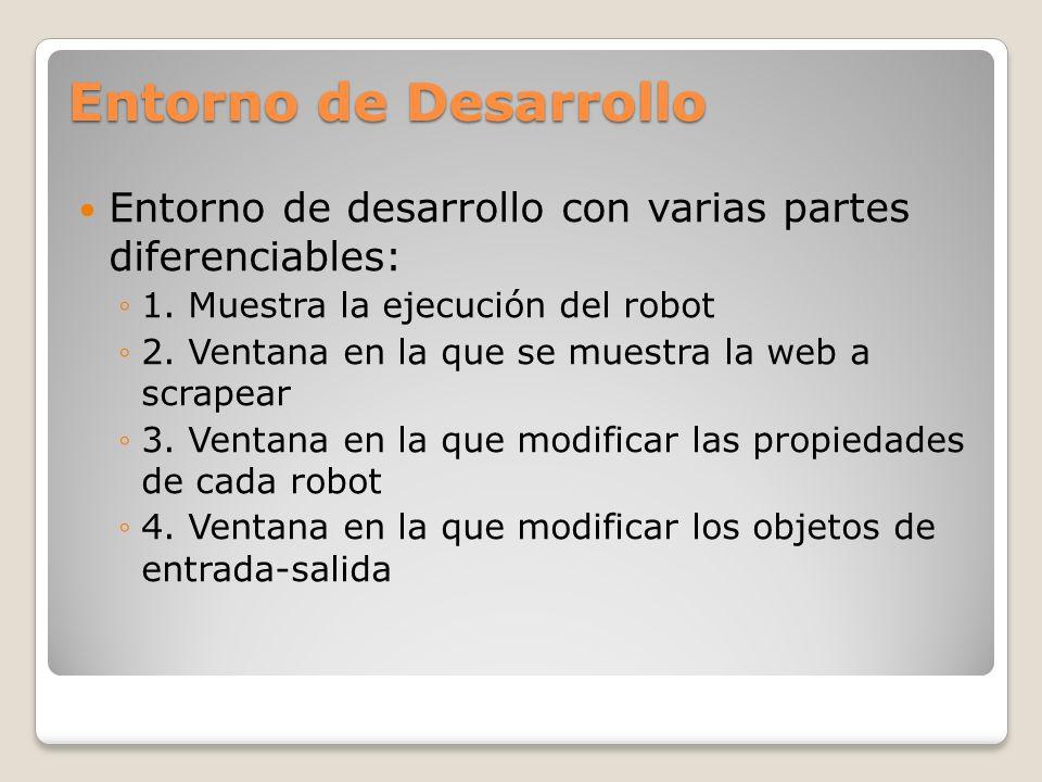 Entorno de Desarrollo Entorno de desarrollo con varias partes diferenciables: 1. Muestra la ejecución del robot 2. Ventana en la que se muestra la web