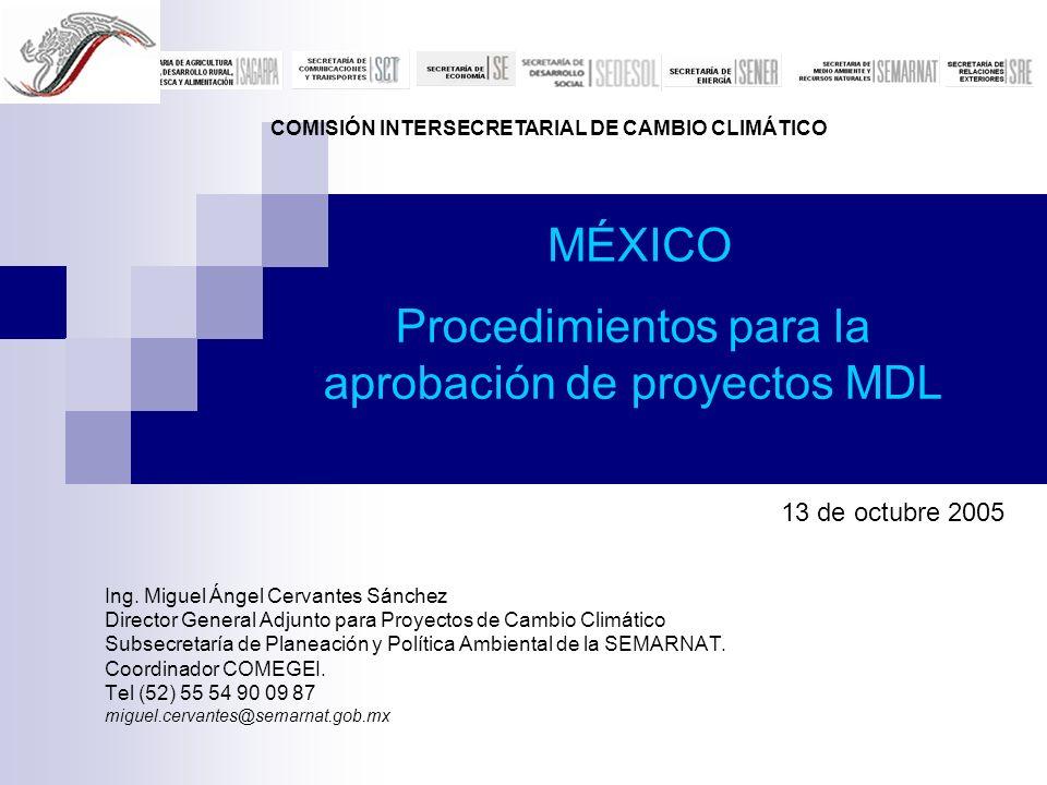 Procedimientos para la aprobación de proyectos MDL Ing. Miguel Ángel Cervantes Sánchez Director General Adjunto para Proyectos de Cambio Climático Sub
