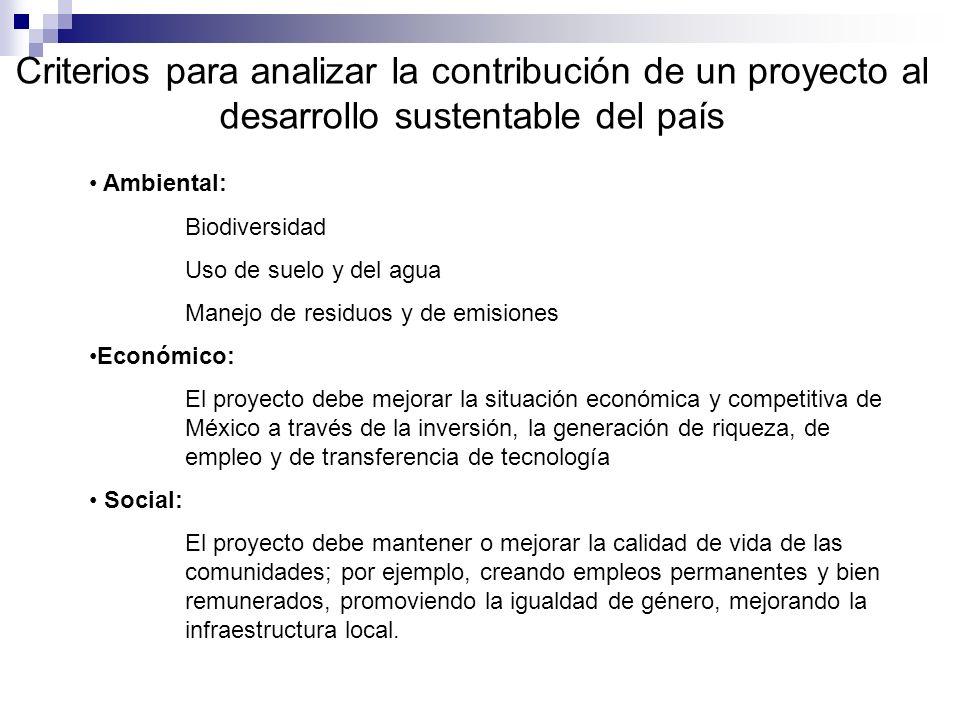Criterios para analizar la contribución de un proyecto al desarrollo sustentable del país Ambiental: Biodiversidad Uso de suelo y del agua Manejo de r