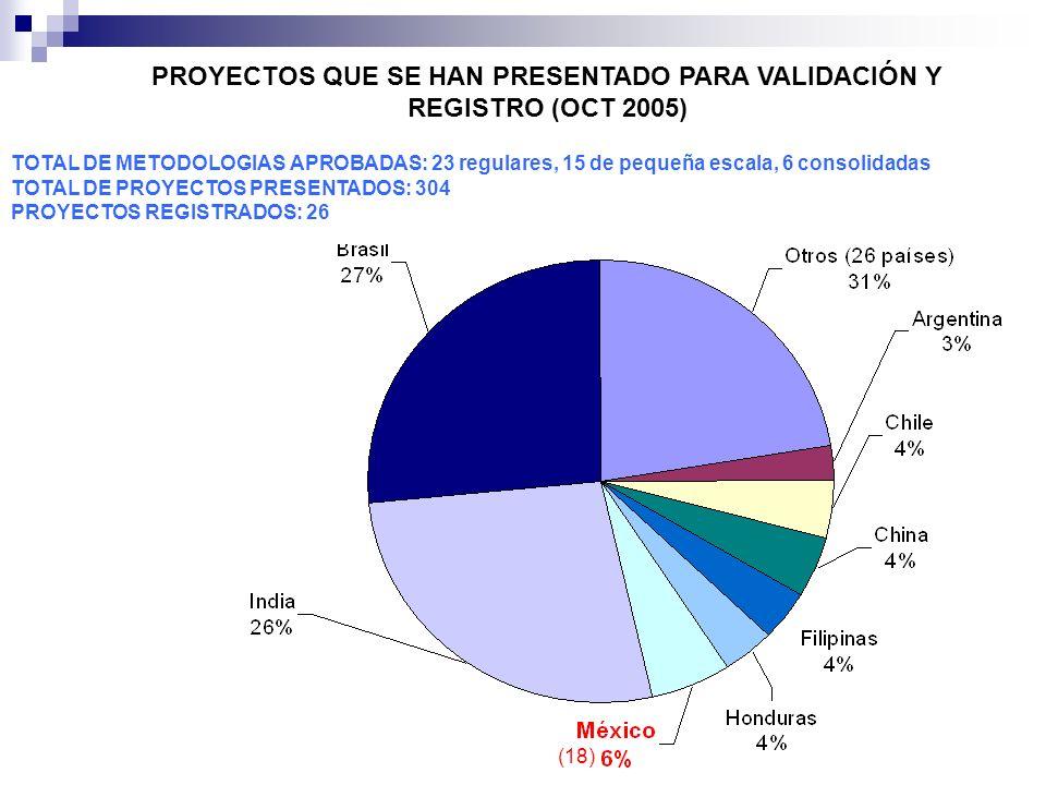 PROYECTOS QUE SE HAN PRESENTADO PARA VALIDACIÓN Y REGISTRO (OCT 2005) TOTAL DE METODOLOGIAS APROBADAS: 23 regulares, 15 de pequeña escala, 6 consolida