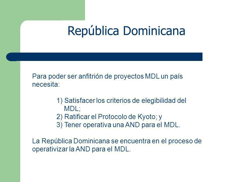 Para poder ser anfitrión de proyectos MDL un país necesita: 1) Satisfacer los criterios de elegibilidad del MDL; 2) Ratificar el Protocolo de Kyoto; y 3) Tener operativa una AND para el MDL.